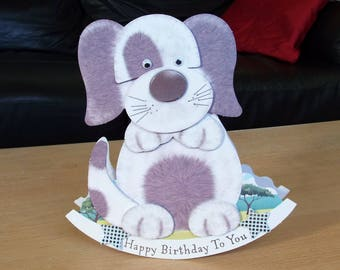 Dog/Puppy 3D Wobbler Male/Female/Kids/Childrens Birthday Card - luxury personalised quality UK - Mum/Grandma/Daughter/Aunt/Niece/Sister/Wife