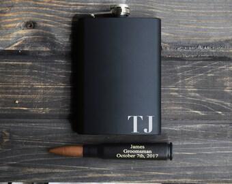 Groomsmen Gift Set, Bullet bottle Opener, personalized bullet bottle opener, personalized flask, flask, engraved flask, engraved bullet