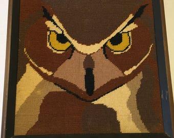 Vintage Framed Owl Needlepoint