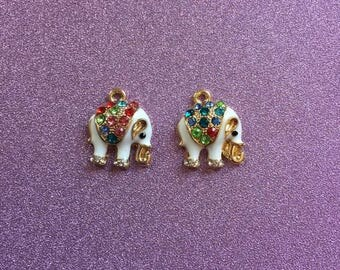2 small Gold Plated Elephant White Enamel charms with Coloured Rhinestones