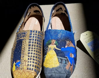 Hand Painted Beauty and the Beast Shoes