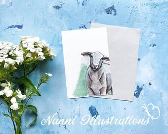 Watercolor Sheep Art