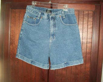 Vintage 90s High Waist Medium Wash Denim, Jean Shorts Size 12