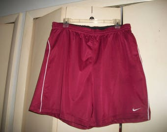 Men's Vintage 90's Nike Burgundy, Red Athletic Shorts, Gym Shorts, Size L