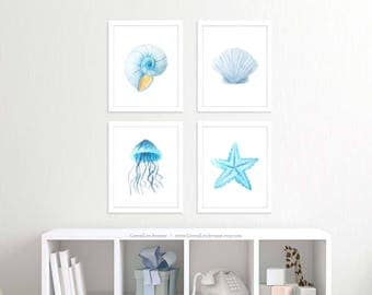 Blue Ocean wall art, nursery prints, 8x10, blue seashell, starfish, conch shell, jellyfish, beach prints, beach theme, printable