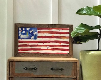 Abstract American flag painting 10x20