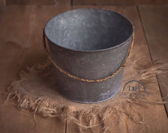 Antique Bucket with Decorative Rope Handle