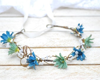 Bridal hair wreath Boho Hair Wreath Bridal Headpiece Bohemian Floral Crown Wedding halo Flower headband Maternity Photo Floral accessories