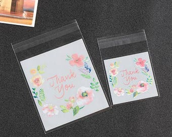 100pcs Thank You Candy Cookie Bags Self Adhesive with flower pattern