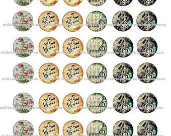 Music series 255-48 Digital Images - cabochons - 25 mm size - send by mail creations