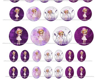 Series 324 - 40 Digital Images girl creations cabochons - sending by e-mail