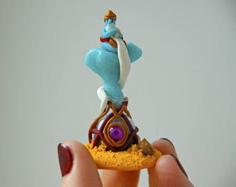 Blue Tiny Genie Polymer Clay Genie Genie Miniature Genie Bottle Magic Bottle Clay Miniature