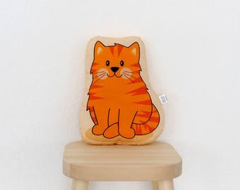 Cat - Tiger - plush stuffed animal pillow kids room nursery