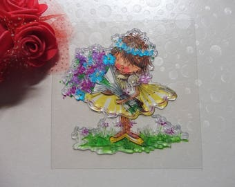 Clear stamps baby girl with flowers