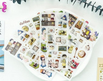 """Stickers 6 sheets set """"coffee time"""""""