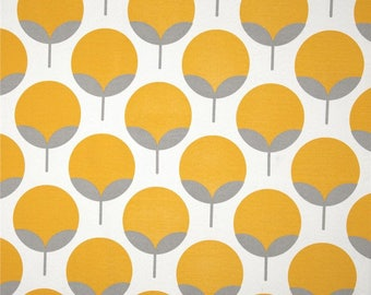 Fabric outside US - wide - furniture - Home - yellow and grey flowers Scandinavian - 50 cm (x 140)