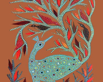 Gond Brown, Gond Artwork, Original Acrylic.