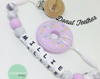 Donut purple - Baby Girl Gift - Chew Toy - Silicone Teether - personalized name clip - name pacifier holder - Silicone Donut Teethe