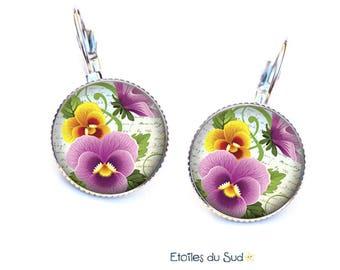 Purple yellow pansies Flower Earrings, resin cabochon