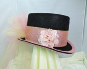 pink TOP HAT victorian steampunk renaissance faire cosplay sz MEDIUM