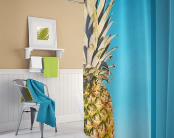 Pineapple shower curtain, Fruit shower curtain, Fun shower Curtain