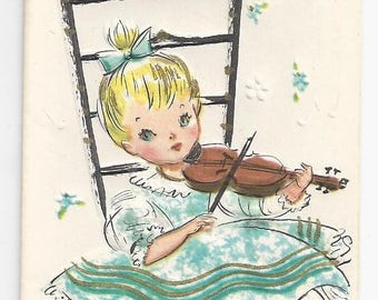 """1950s Cute Get Well Card """"Same Old Tune"""""""