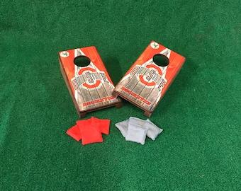 Ohio State Buckeyes Table Top Cornhole Boards with mini cornhole bags