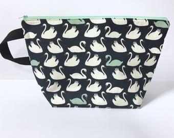 Large Zipper Pouch, Organic Zipper Pouch, Knitting Bag, Project Bag, Zipper Bag, Swans Zipper Bag, Black Zipper Pouch, Large Knitting Bag