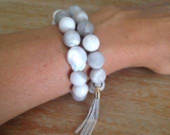 Marbled Gray agate beaded bracelet