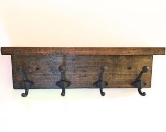 Rustic coat rack, 4 hook coat rack, entryway storage, entryway coat rack, wall mounted coat rack