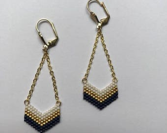∎ VICTORY ∎ earrings chevron - Navy blue white and gold