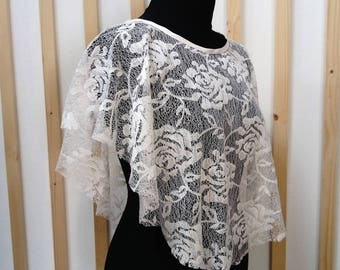 Lace cape , lace poncho , bridal cover up , cape , poncho