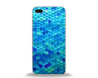 Mermaid phone case, geometric phone case, blue sequin phone case, mermaid iphone case, samsung case, htc case, iphone 6 case, lg phone case