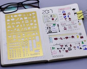 """Brass planner stencil , Fit A5 Notebook,NotebooksStationary Stencil Lovers,tibetara®,journal stencils 4*7"""",1 each/lot-10196450"""