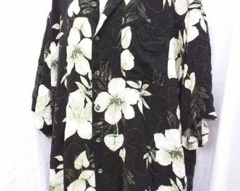 Floral 90's Hawaiian shirt beach over-sized rayon soft black white XXXXL big flowy loose tropical summer pool lounge hula luau tiki