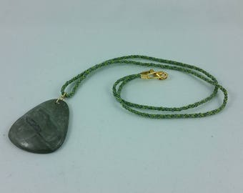 Necklace: Over the Hills and Far Away; green stone pendant on braided silk cord