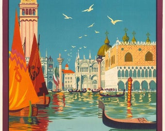 "Striking Vintage French Travel  Poster ""Venise"" by Dorival 1921"