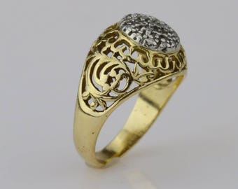 10k Yellow Gold Vintage Open Carved Diamond Ring Size 9.75(01504)