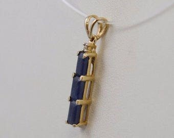 10k Yellow Gold Sapphire Drop/dangle Pendant/charm(00311)