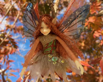 "Fae Folk® Fairies - KEELA - Earth Fairy. Bendable, posable 5"" soft doll can sit, stand, or hang."
