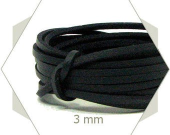 1 m cord 3 mm black CP23 leatherette
