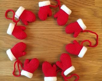 Crochet Mini Santa Mittens