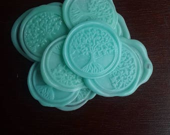 "Tree of Life and Enlightenment  wedding party invitation self adhesive wax seal peel sticker 1"" 5 pieces"