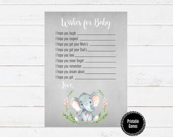 Baby Shower Printable Games, Wishes for Baby, Printable Games, Watercolor Baby Shower Games, Girl Baby Shower Elephant, Baby Shower Games