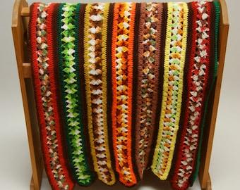 Vintage Crocheted Afghan ⎮ 1970s Handmade Blanket ⎮ Multi-colored Striped Scalloped Afghan