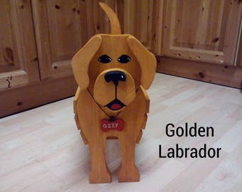 LABRADOR,wooden,dog,garden,planter,ornament,Decoration,Name,tag,custom,made,