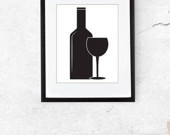 Digital Download, Art, Wine Illustration