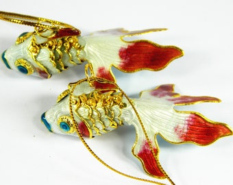 "A Pair of 2.7"" Chinese Silvery RCloisonne Copper Enamel Articulated Goldfish Koi Fish Figurine,Make Pendant Earrings etc Jewelry or Ornament"