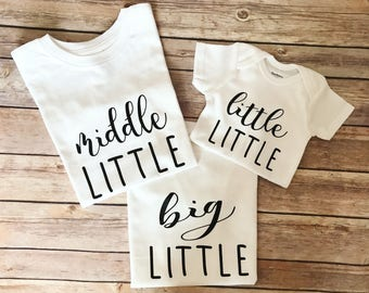 Sibling shirts - Big sister-Little sister-Big brother-Little brother