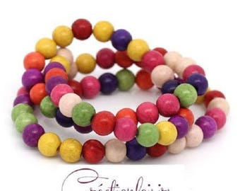 20 multicolored howlite stone 6 mm beads